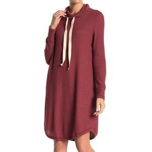 Susina Cowl Neck Long Sleeve Waffle Knit Dress